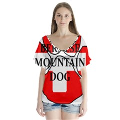 Ber Mt Dog Name Paw Switzerland Flag Flutter Sleeve Top