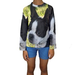 Boston Terrier Puppy Kids  Long Sleeve Swimwear