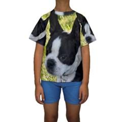 Boston Terrier Puppy Kids  Short Sleeve Swimwear