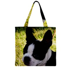 Boston Terrier Puppy Zipper Grocery Tote Bag