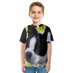 Boston Terrier Puppy Kids  Sport Mesh Tee
