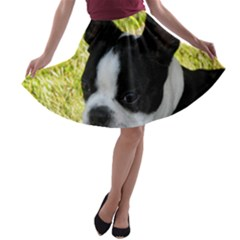 Boston Terrier Puppy A-line Skater Skirt
