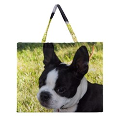 Boston Terrier Puppy Zipper Large Tote Bag