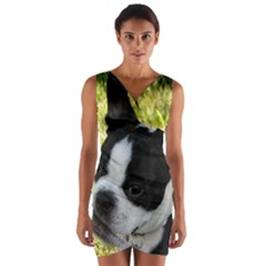Boston Terrier Puppy Wrap Front Bodycon Dress
