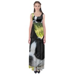 Boston Terrier Puppy Empire Waist Maxi Dress