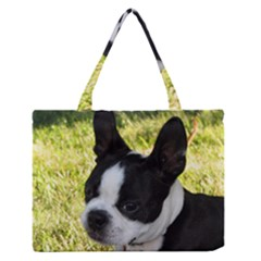 Boston Terrier Puppy Medium Zipper Tote Bag