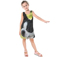 Boston Terrier Puppy Kids  Sleeveless Dress