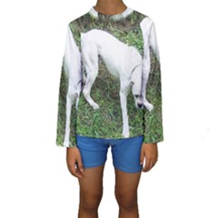 Boxer White Puppy Full Kids  Long Sleeve Swimwear