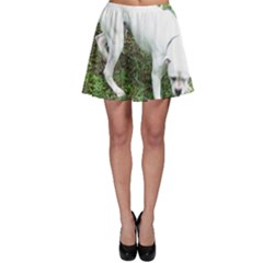 Boxer White Puppy Full Skater Skirt