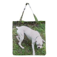 Boxer White Puppy Full Grocery Tote Bag
