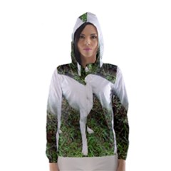Boxer White Puppy Full Hooded Wind Breaker (Women)