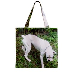 Boxer White Puppy Full Zipper Grocery Tote Bag