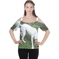 Boxer White Puppy Full Women s Cutout Shoulder Tee