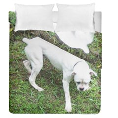 Boxer White Puppy Full Duvet Cover Double Side (Queen Size)