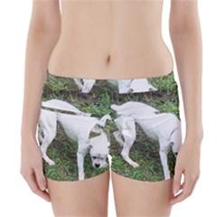 Boxer White Puppy Full Boyleg Bikini Wrap Bottoms