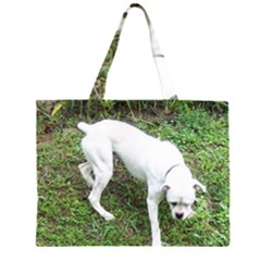 Boxer White Puppy Full Large Tote Bag