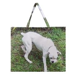 Boxer White Puppy Full Zipper Large Tote Bag