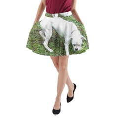 Boxer White Puppy Full A-Line Pocket Skirt