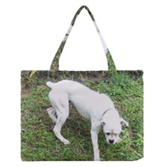 Boxer White Puppy Full Medium Zipper Tote Bag