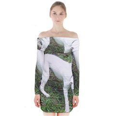 Boxer White Puppy Full Long Sleeve Off Shoulder Dress