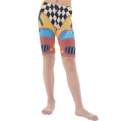 Automobile Car Checkered Drive Kids  Mid Length Swim Shorts