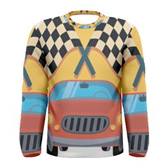 Automobile Car Checkered Drive Men s Long Sleeve Tee