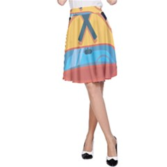 Automobile Car Checkered Drive A-Line Skirt