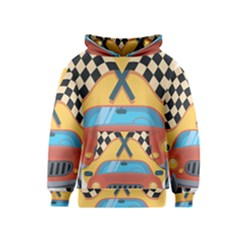 Automobile Car Checkered Drive Kids  Pullover Hoodie