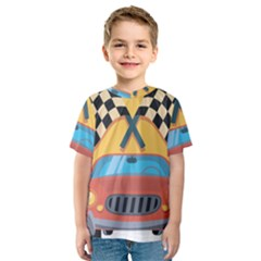 Automobile Car Checkered Drive Kids  Sport Mesh Tee