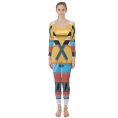 Automobile Car Checkered Drive Long Sleeve Catsuit