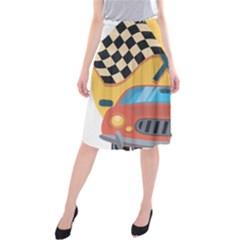 Automobile Car Checkered Drive Midi Beach Skirt