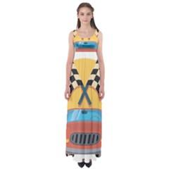 Automobile Car Checkered Drive Empire Waist Maxi Dress