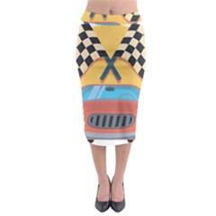 Automobile Car Checkered Drive Midi Pencil Skirt