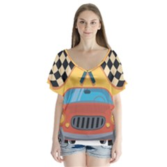 Automobile Car Checkered Drive Flutter Sleeve Top