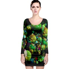 Abstract Balls Color About Long Sleeve Bodycon Dress
