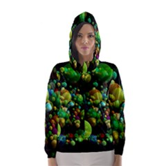 Abstract Balls Color About Hooded Wind Breaker (Women)
