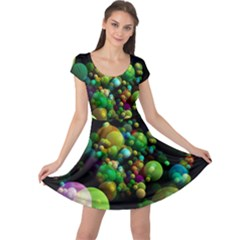 Abstract Balls Color About Cap Sleeve Dresses