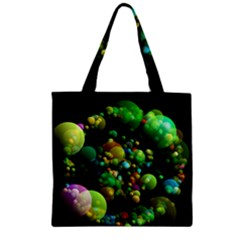 Abstract Balls Color About Zipper Grocery Tote Bag