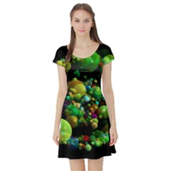 Abstract Balls Color About Short Sleeve Skater Dress