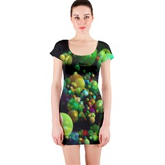 Abstract Balls Color About Short Sleeve Bodycon Dress