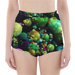 Abstract Balls Color About High-Waisted Bikini Bottoms