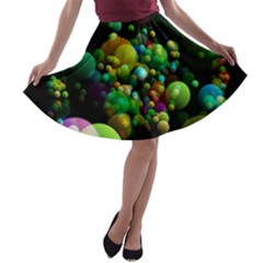 Abstract Balls Color About A-line Skater Skirt