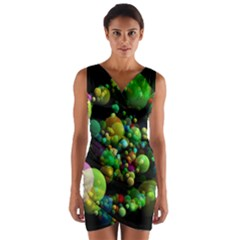 Abstract Balls Color About Wrap Front Bodycon Dress