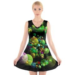 Abstract Balls Color About V-Neck Sleeveless Skater Dress