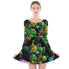 Abstract Balls Color About Long Sleeve Velvet Skater Dress