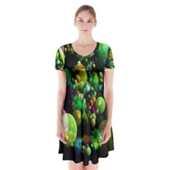 Abstract Balls Color About Short Sleeve V-neck Flare Dress