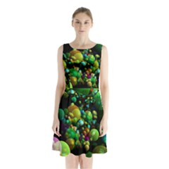Abstract Balls Color About Sleeveless Chiffon Waist Tie Dress