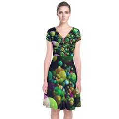 Abstract Balls Color About Short Sleeve Front Wrap Dress
