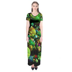 Abstract Balls Color About Short Sleeve Maxi Dress