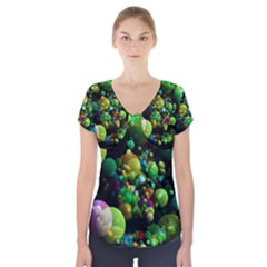 Abstract Balls Color About Short Sleeve Front Detail Top